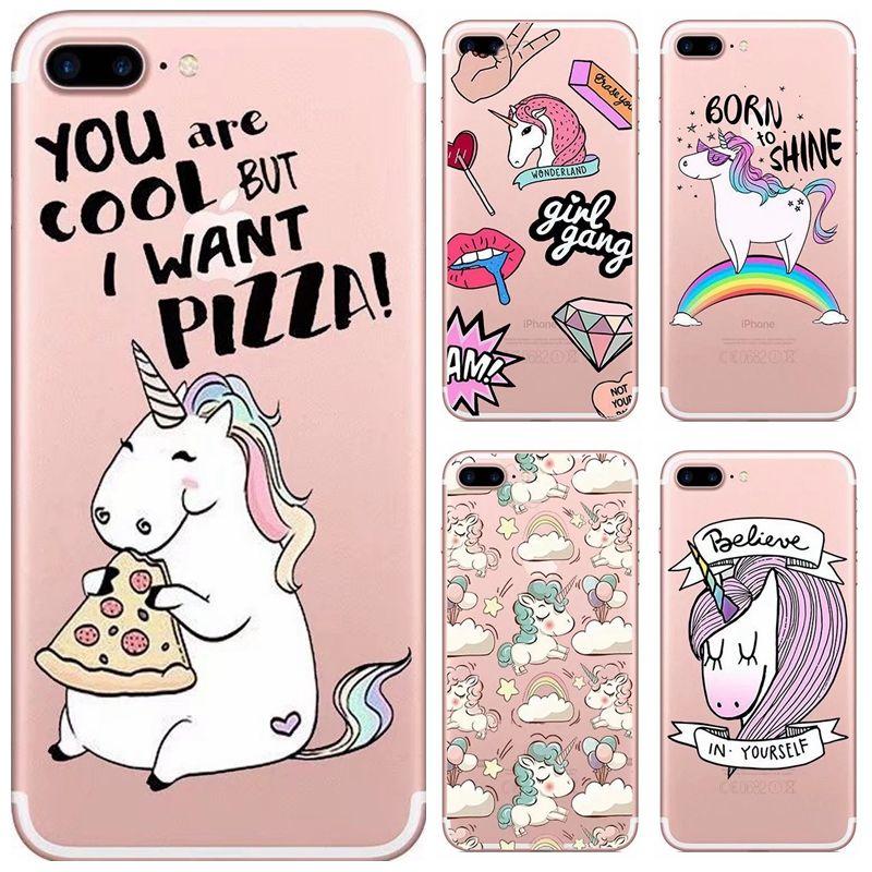 Iphone unicorn cartoon clear ultra thin soft cover 000