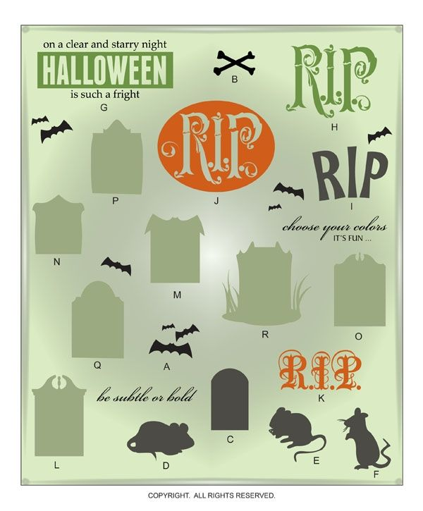 DIGITAL DOWNLOAD ... Halloween Mice and Tombstone Vectors for Wall Graphics @ My Vinyl Designer #tombstone