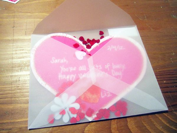 Handmade Valentine card idea  DIY vellum envelope with confetti