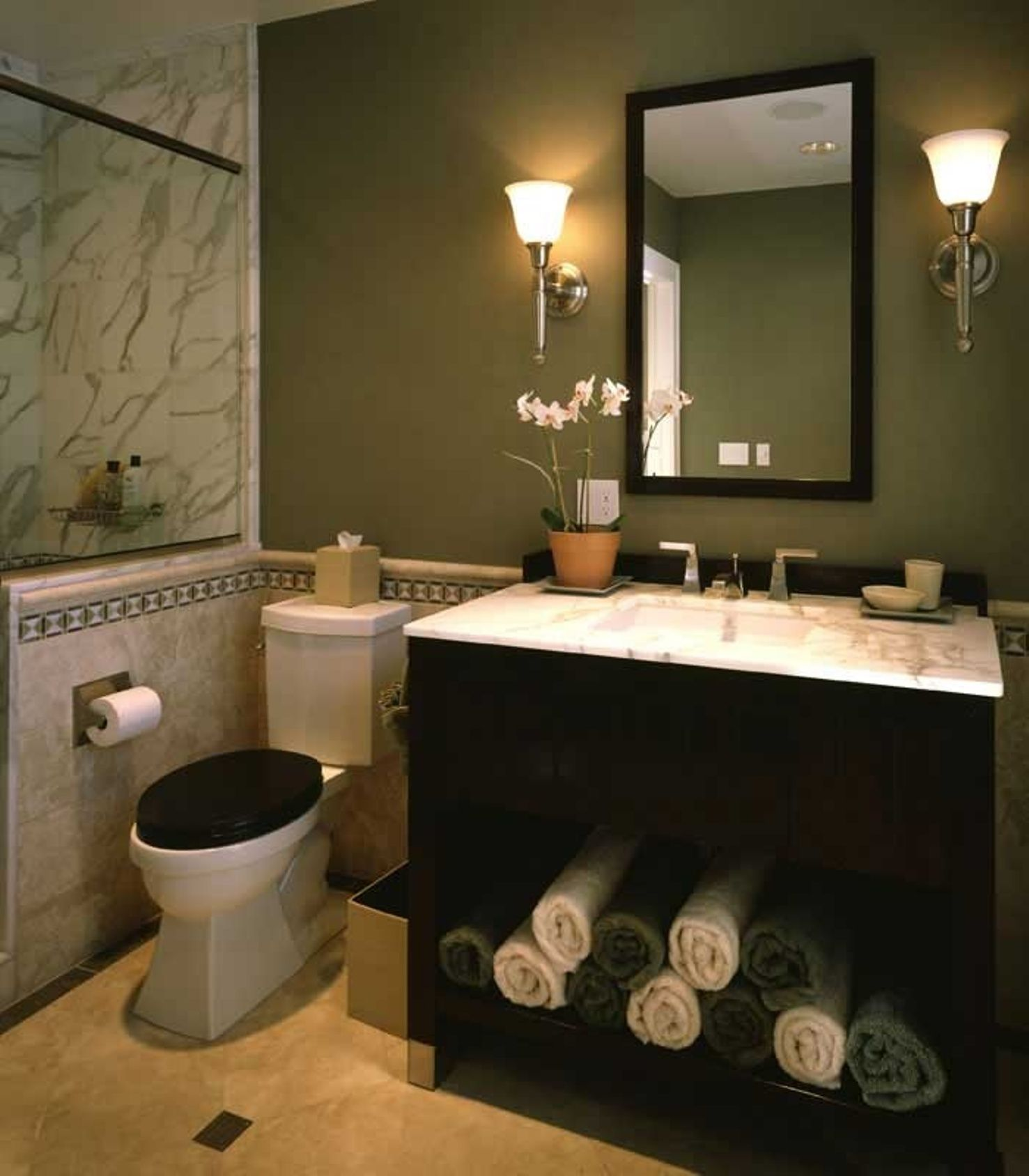Light Sage Green With Marble Effect Tiles And Brass Fittings Green Bathroom Decor Green Bathroom Blue Bathroom Accessories