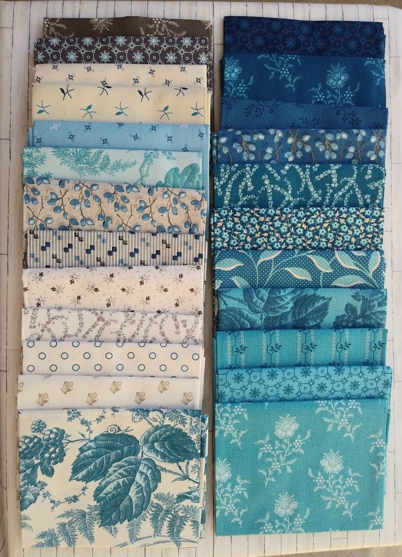 Royal Blue Fat Quarter Fabric Bundle - Andover Fab