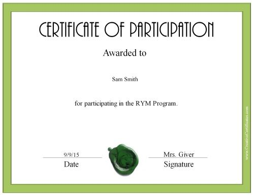 custom participation certificate with a green border and a green - Free Customizable Printable Certificates Of Achievement