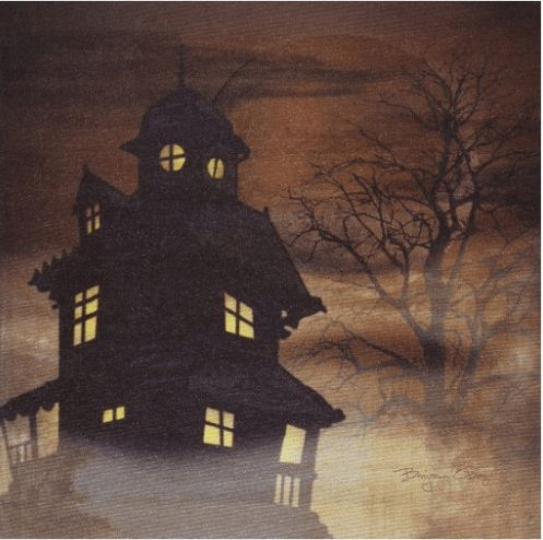 Halloween Wall Decorations - Haunted House Art Haunted houses are - scary halloween house decorations
