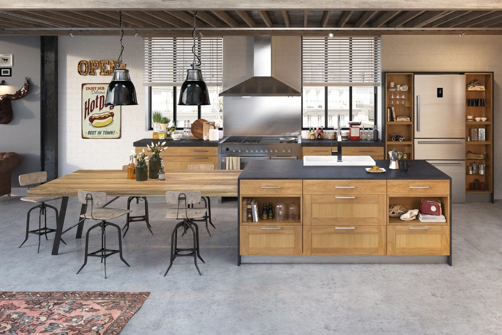 Cuisine Amenagee Style Bistrot La Bar Cuisine Moderne Cuisine Equipee Moderne Cuisine Style Industriel