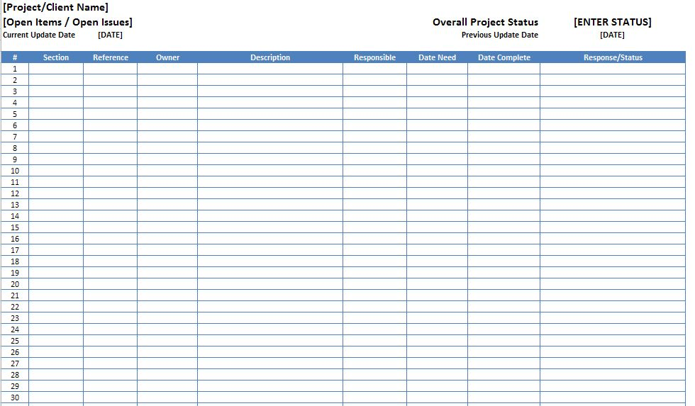 Open Items Issues Log List Template Excel xls – Microsoft Excel ...