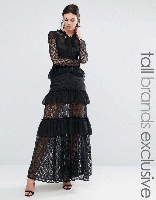 9d349b215d6 True Decadence Tall Long Sleeve Tiered Lace Frill Maxi Dress