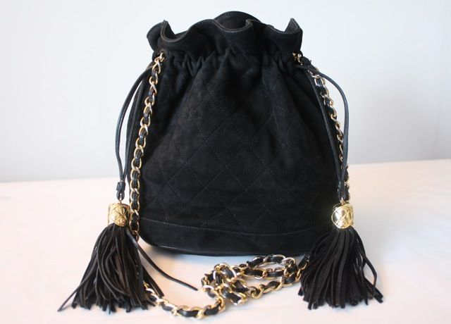 Spectacular Vintage Chanel Black Quilted Suede Drawstring Bucket Bag With Double Tassels Chain Shou Vintage Chanel Bag Vintage Chanel Handbags Vintage Chanel