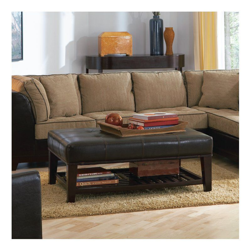 Martinelli Coffee Table With Storage Leather Ottoman Coffee Table Ottoman In Living Room Brown Leather Furniture