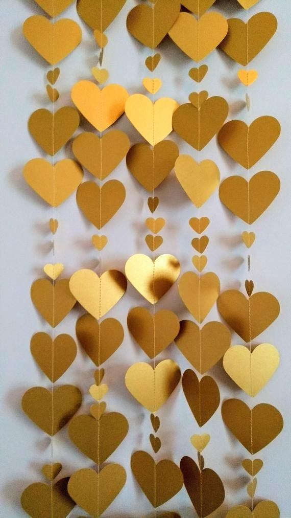 Gold Heart Garland 8ft Valentine's Decor Gold Wedding | Etsy