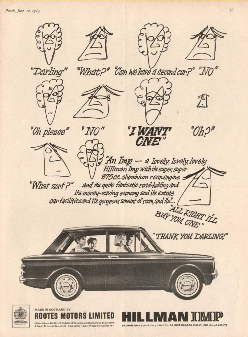 The Hillman Imp 1964 Advertisement Ebay Advertising Car Ads