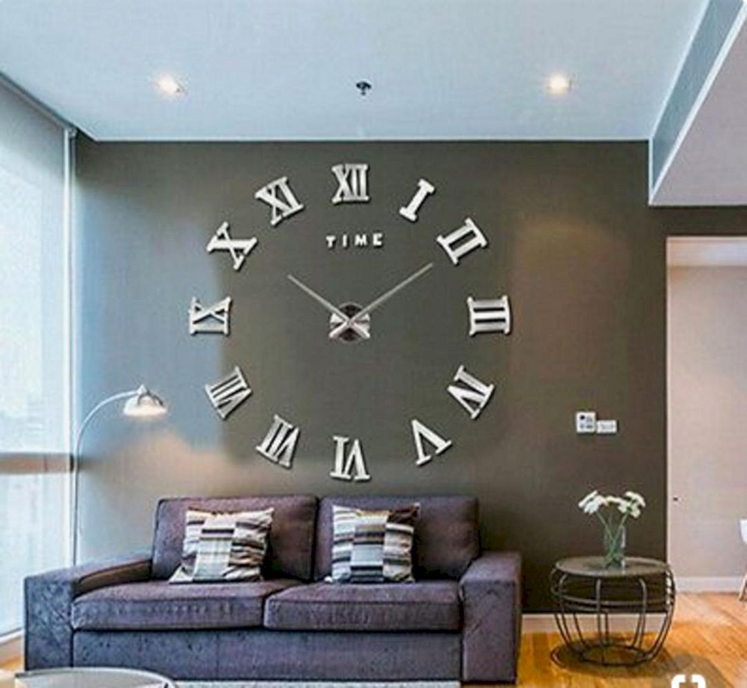 12 Unique Diy Large Wall Clock Ideas For Stunning Living Room Decoration Contemporary Wall Clock Wall Clocks Living Room Large Contemporary Wall Clock