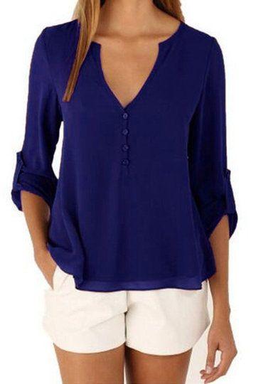 Dark Blue V-neck Long Sleeves Irregular Hem Top