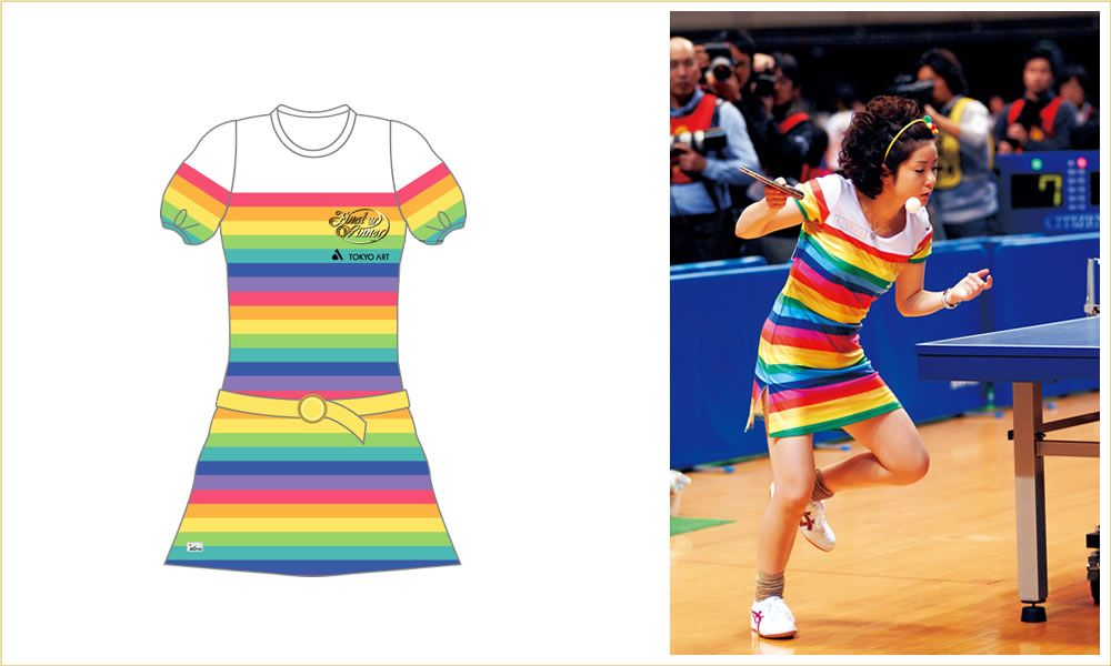 Naomi Yotsumoto. A table tennis player who designs her own clothes. Love this little rainbow number.