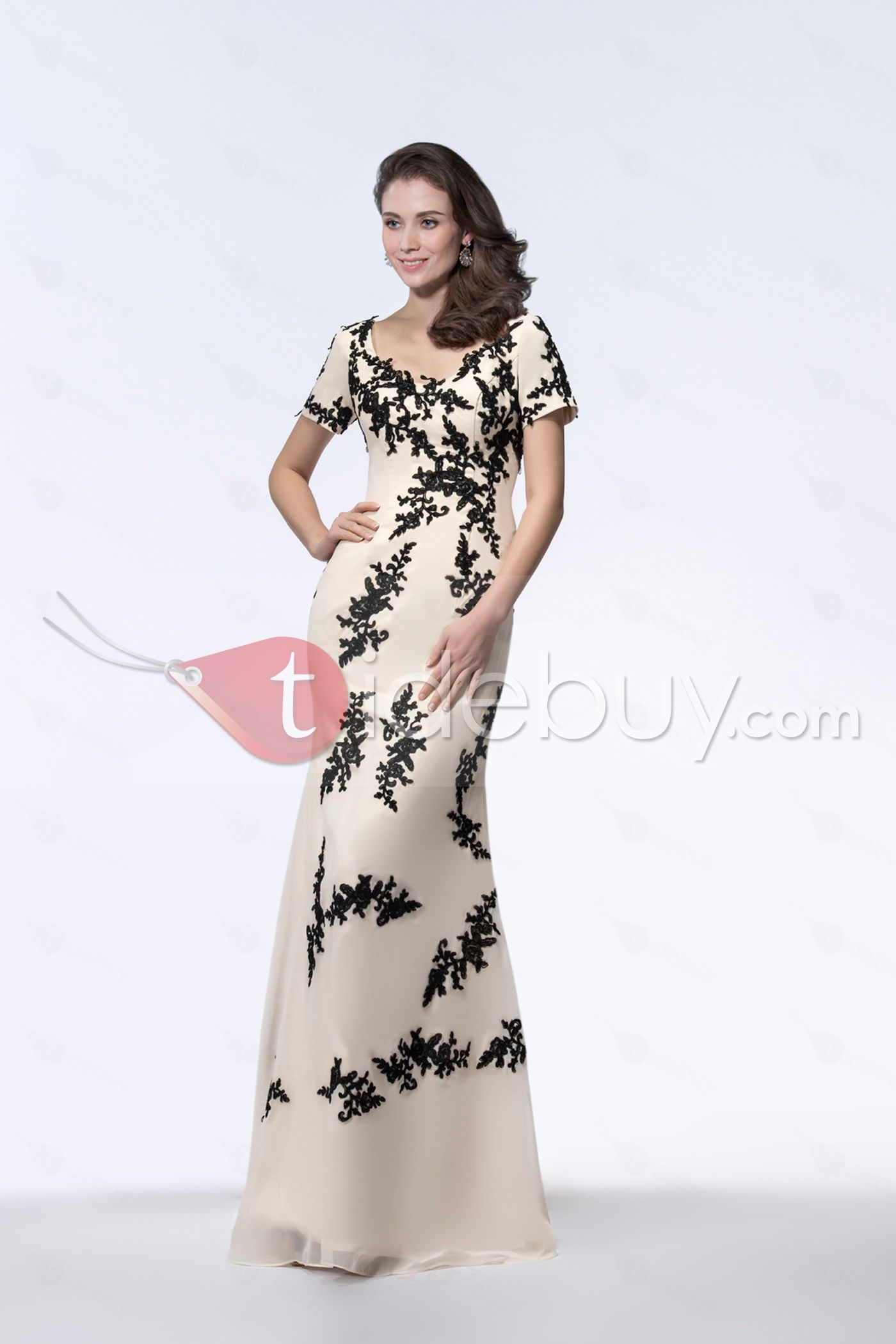 Sparkling Scoop Neck Appliques Short Sleeves Sheath Evening Dress