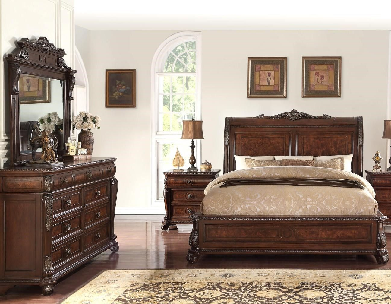 Vintage 5 Piece Elizabeth Sleigh Bed Group by Home