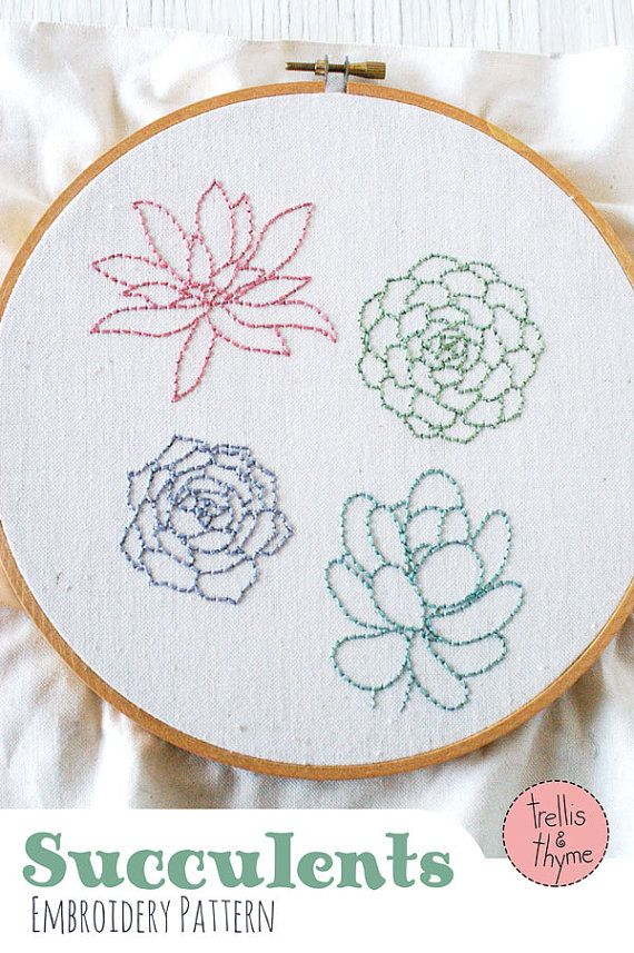 PDF Embroidery Pattern - Succulents Botanical Embroidery Pattern ...