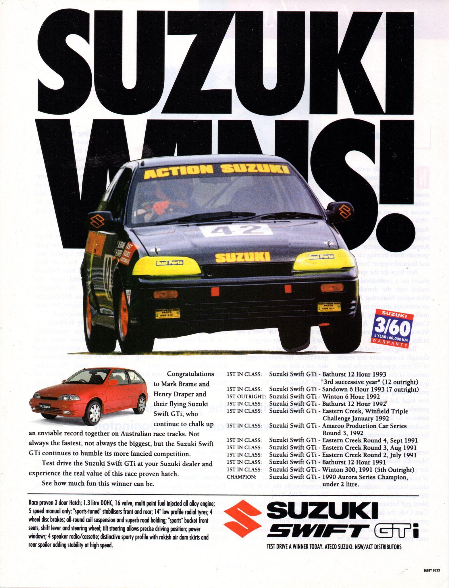 1994 Suzuki Swift Gti 3 Door Hatchback Aussie Original Magazine Advertisement Suzuki Swift Suzuki Car Advertising