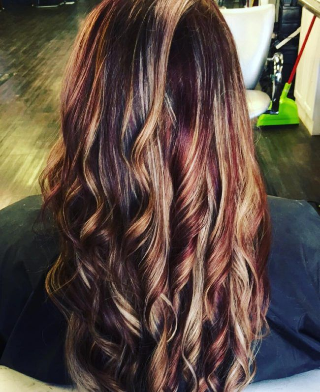 Blonde Streaks On A Cherry Black Base Hair In 2019