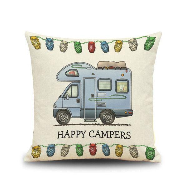 Fashion Happy Campers Pillow Case Sofa Waist Throw Cushion Cover