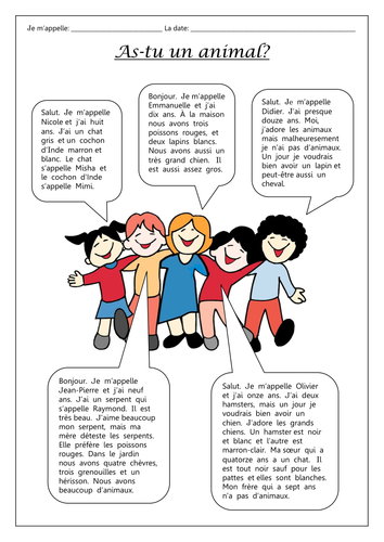 FRENCH - Animals - As-tu un animal? - Worksheets | Learn french, French  teaching resources, French language lessons