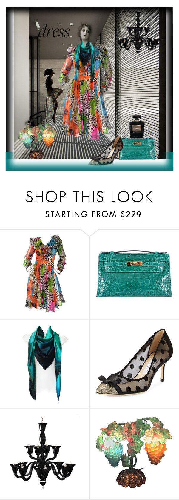 """jasinta-3308"" by jasintasss ❤ liked on Polyvore featuring Hermès, Leona Lengyel, Jimmy Choo, Voltolina, Jean-Paul Gaultier and Chanel"