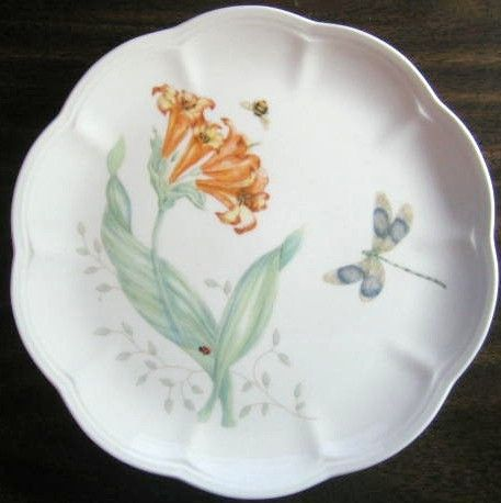 Botanical Bee Butterfly Lady Bug Lily Plate Plates Decorative