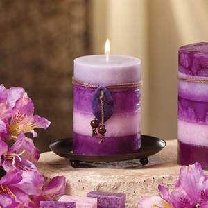 Purple Candle Stumpenkerzen Kerzenteller