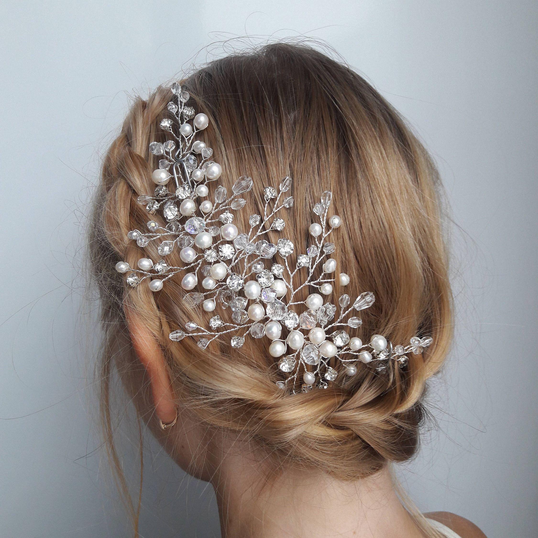 Bridal hair clip,Gold Hair Jewelry,bride accessories Pearl /& Crystal Diamond Rhinestone Bridal Headband Bride Comb bride headpiece