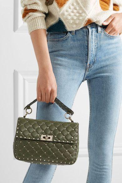0df2d01e4 VALENTINO glamorous Rockstud Spike quilted leather shoulder bag ...