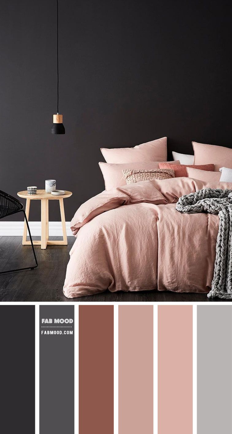 Charcoal and Mauve Pink Bedroom Color Scheme