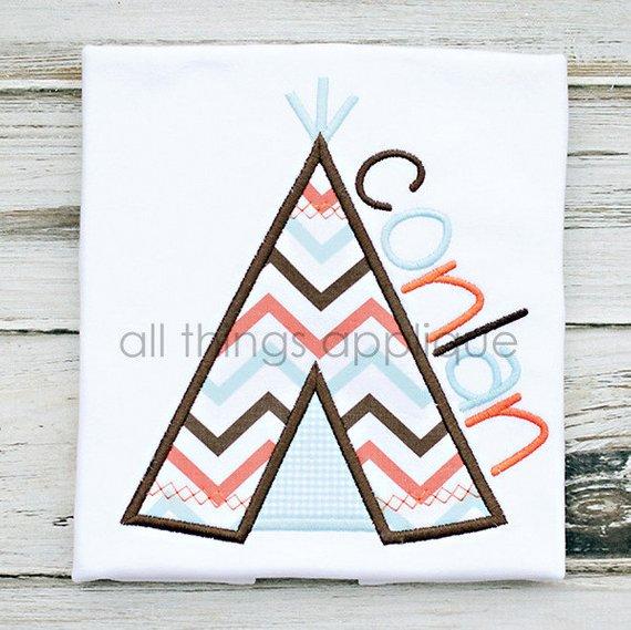 Teepee Applique Design 4 Sizes Machine Embroidery Design