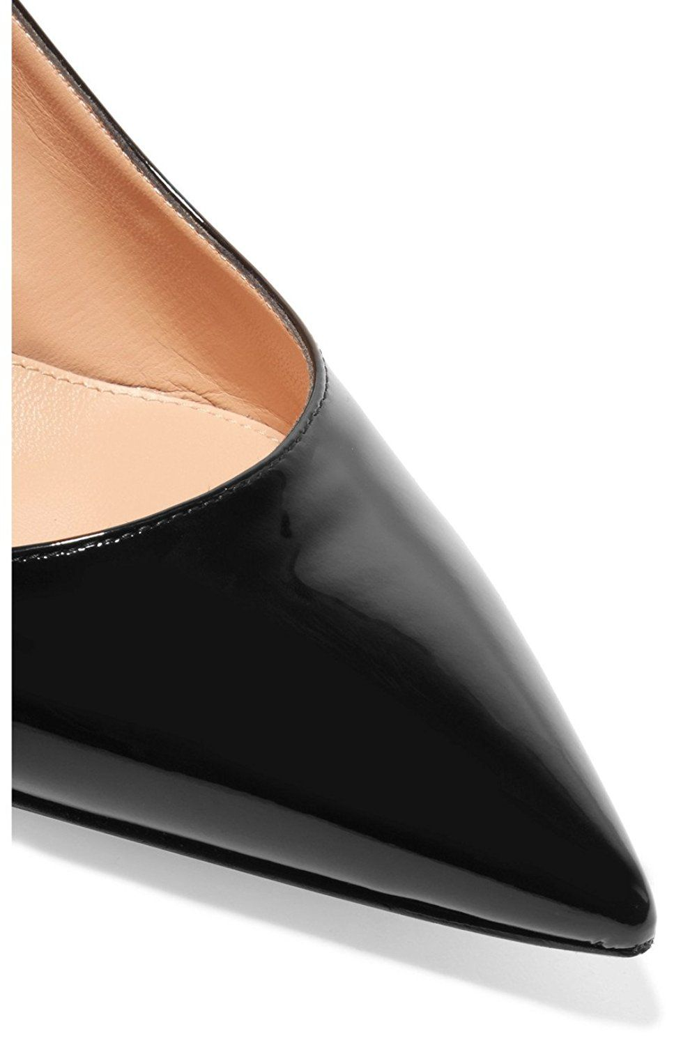 d127c527157 Eldof Women s Patent Leather Pointed Toe Slingback Ankle Strap Kitten Heels  Pumps Evening Stiletto Shoes 6.5cm     To view further for this item