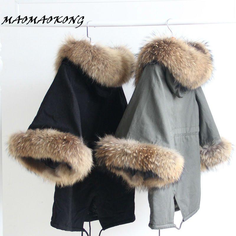 Maomaokong jaqueta mulheres casaco de inverno gola de pele de guaxinim exército verde sobretudo ocasional flare manga manto de algodão acolchoado casacos em Parkas de Das mulheres Roupas & Acessórios no AliExpress.com   Alibaba Group