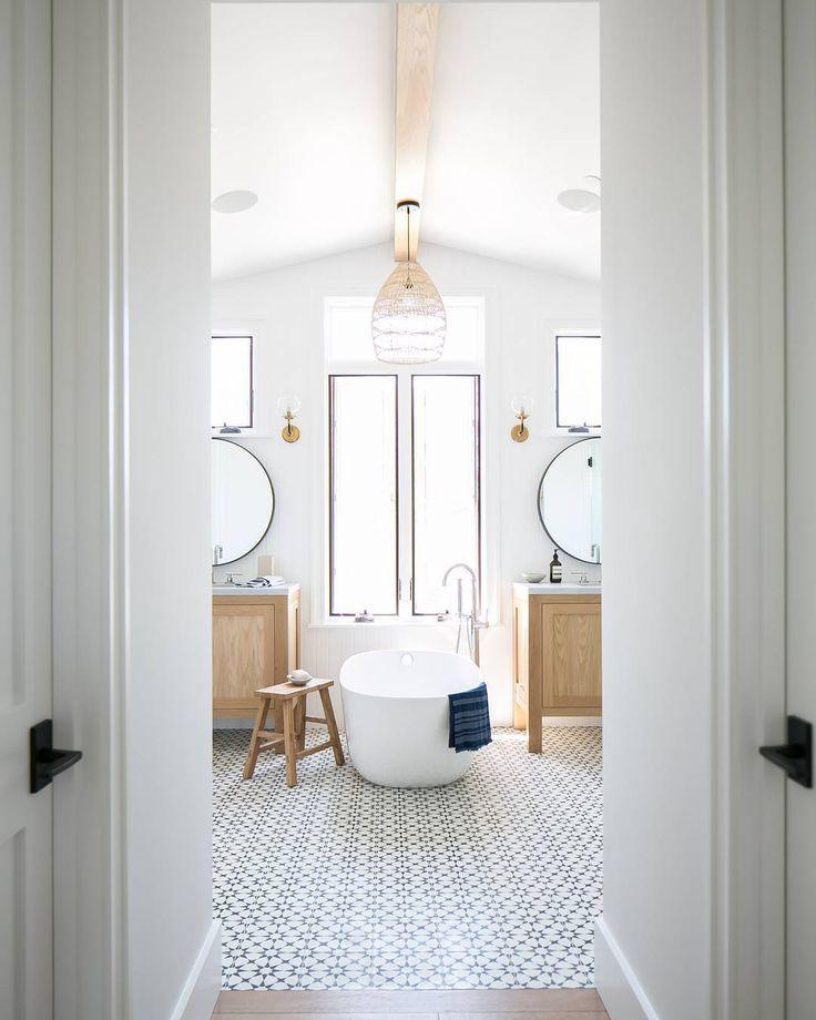 Floor Tile Decor Amazing Bright White Bathroom With Patterned Floor Tile  Home Decor Inspiration