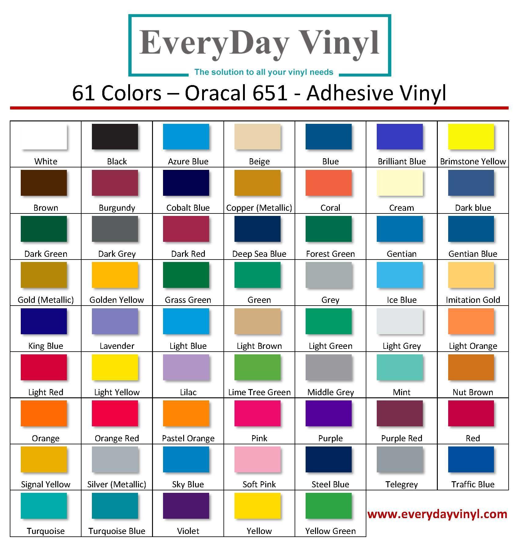 Oracal 651 Color Chart Adhesive Vinyl Adhesive Vinyl Sheets Vinyl