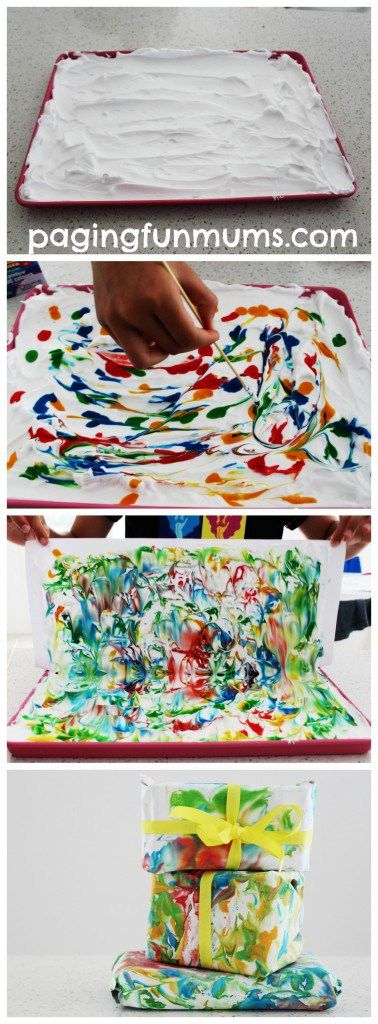 Shaving Foam Wrapping Paper. Easy step step tutorial on how to make beautiful handmade wrapping paper!