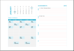 Student Assignment Planner Calendar Download At HttpWww
