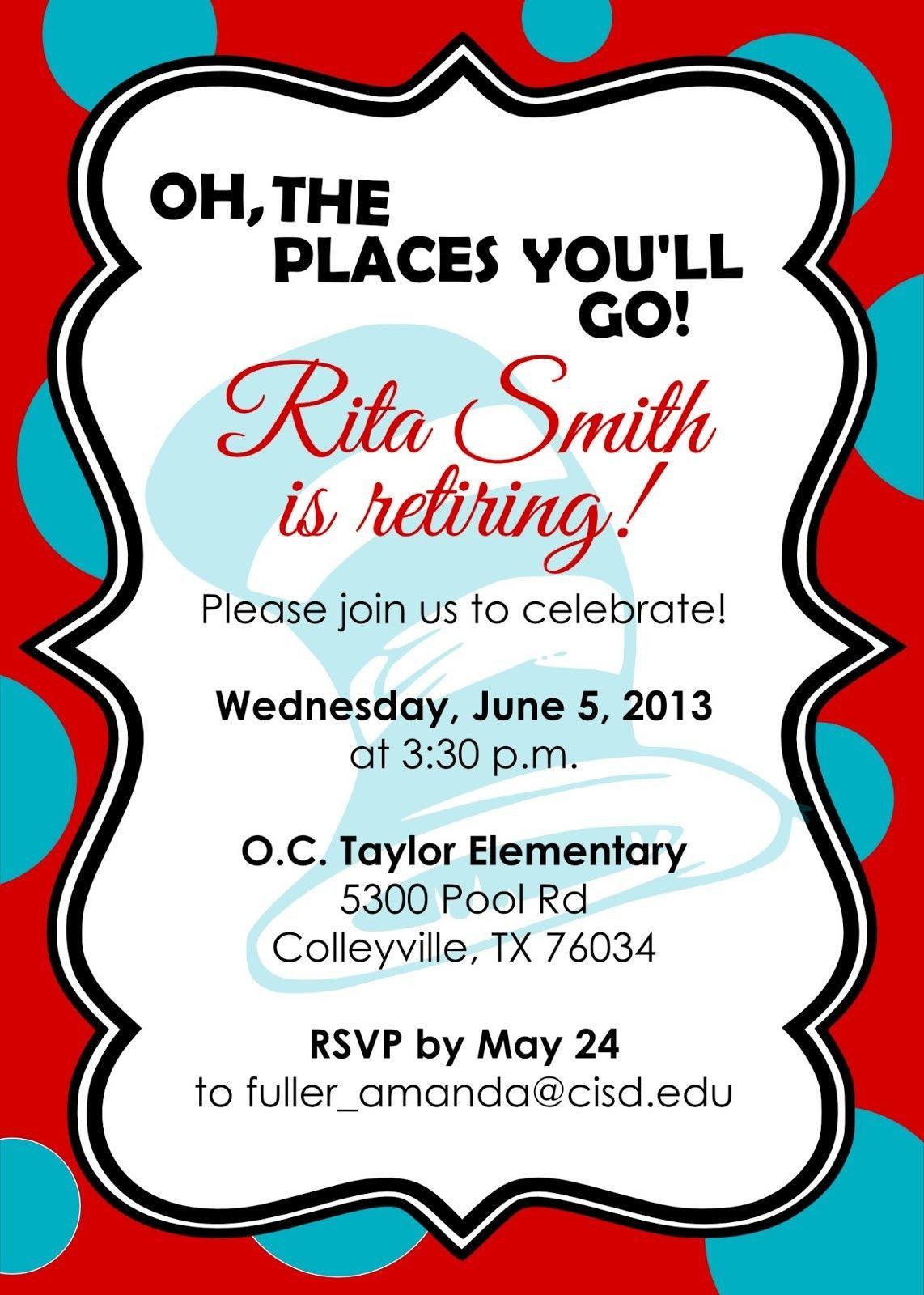 Printable Invitations Retirement