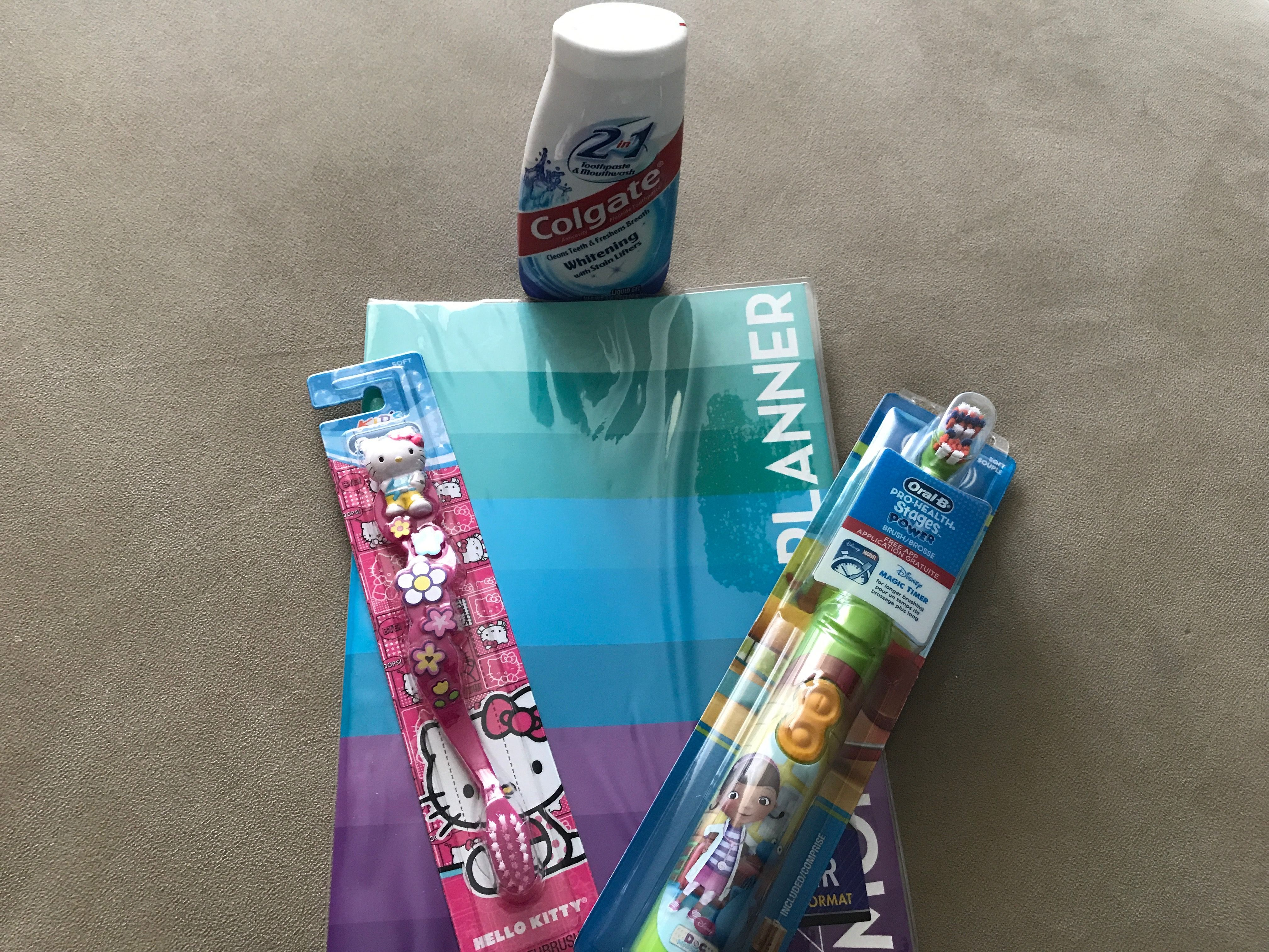 Dollar Tree: 1 oral b hello kitty toothbrush, 1 oral b doc mcstuffin battery operated toothbrush, 1 colgate toothpaste, 1 2018 planner: used 2 $1 off toothbrush coupons, 0.50 colgate coupon= total $1.80