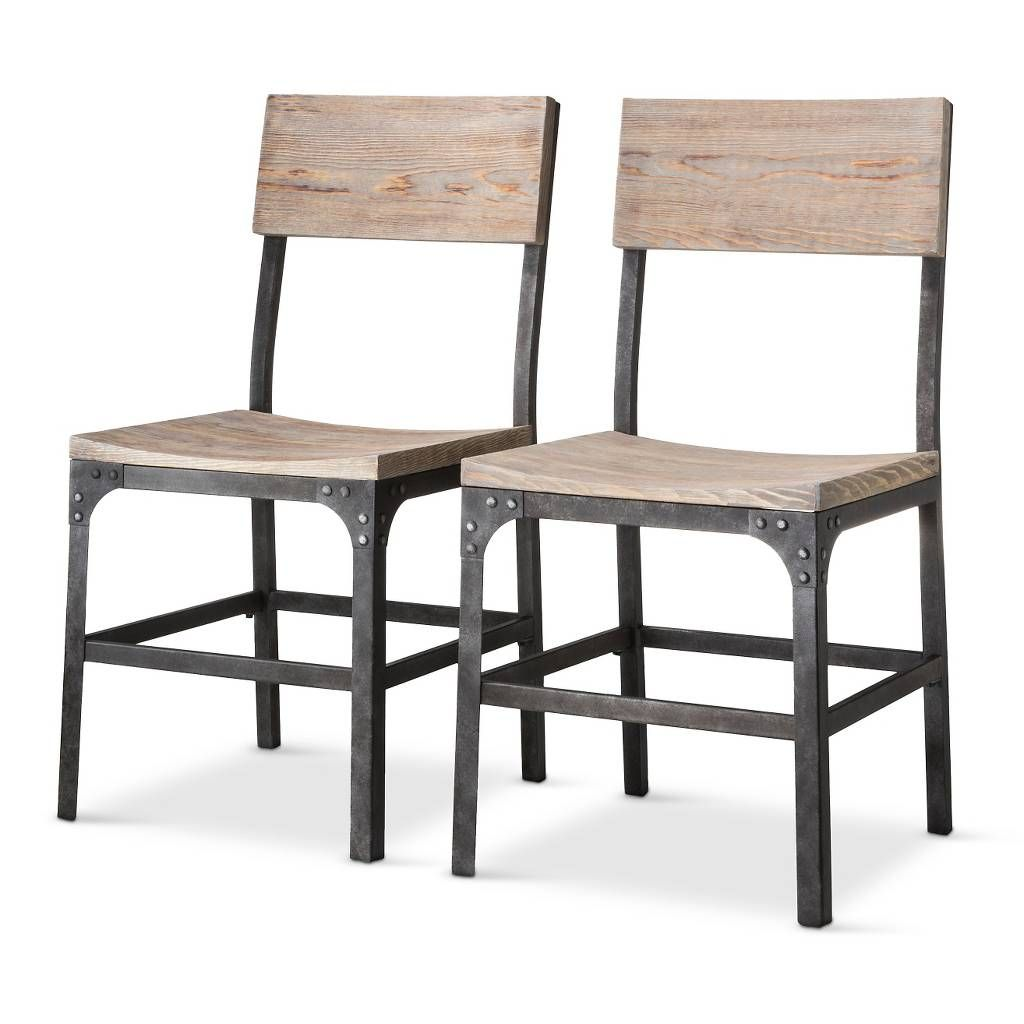 Franklin wood seat dining chair metal gray set of 2