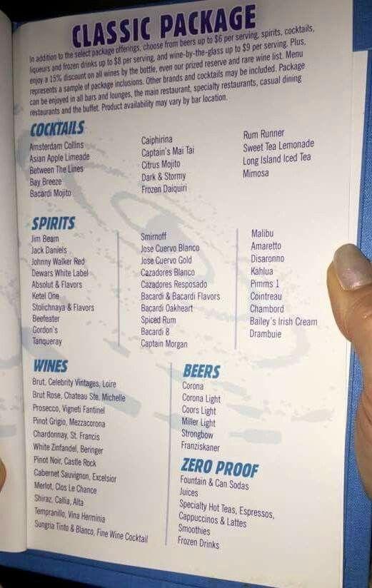 Princess Cruise Drink Menu 2020.Celebrity Cruises Classic Drink Package In 2019 Beverage
