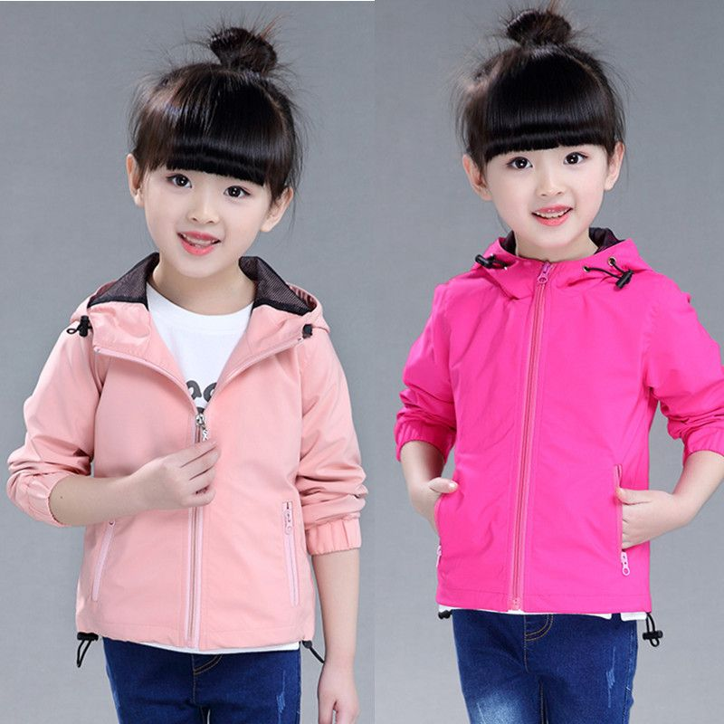 >> Click to Buy << Fashion girls jacket 2017 spring and autumn solid color sports zipper outerwear girl long-sleeve hooded coat #Affiliate