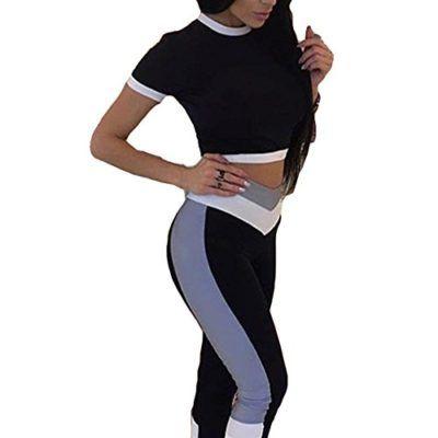 4dcf6456077b0 Mujer 2 Piezas Casual Traje Deportes Conjunto – Sexy Mujeres Casual Chandal  Conjunto Deporte Gimnasio Trotar