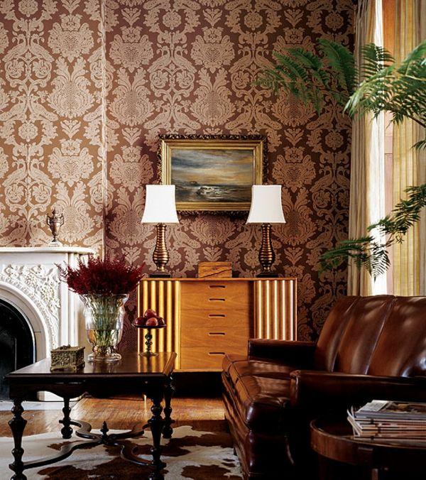 tapeten-farben-ideen-sehr-elegante-zimmer-gestaltung-braune - wohnzimmer tapeten ideen braun