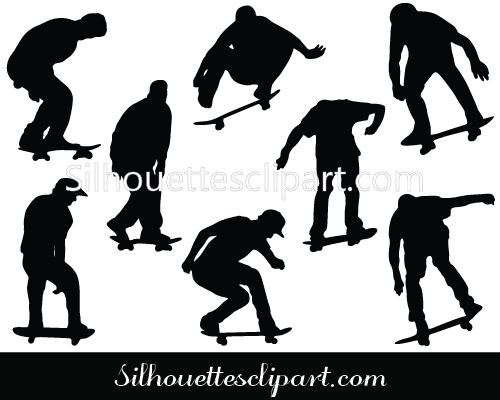 Skateboarders Silhouette Vector Download Silhouette Vector Silhouette Art Silhouette Clip Art
