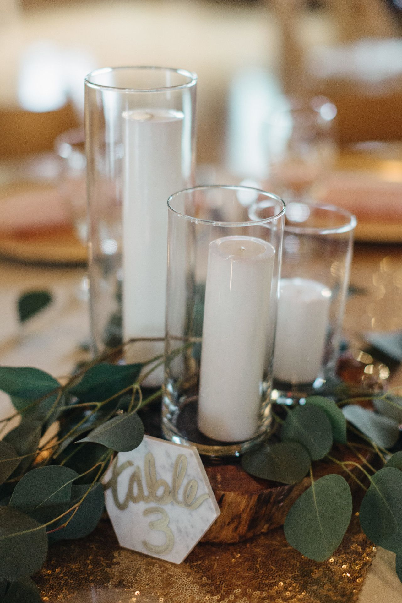 White Candle Wedding Centerpiece Candles Greenery Wedding Decor Marble Candle Wedding Centerpieces Greenery Wedding Decor Gold Table Numbers Wedding