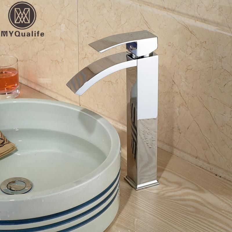 Chrome Basin Vessel Sinks Mixer Faucet Single Handle Countertop ...