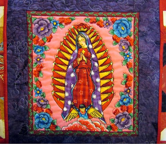 Our Lady of Guadalupe Quilt // Wall Quilt // Mexican Saint Quilt ... : mexican quilt - Adamdwight.com