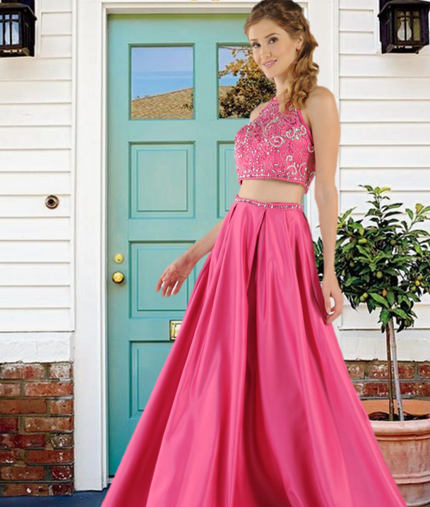 e1dd16be870 Two-Piece Satin long dress with Mesh beaded top and A-line skirt with side  pockets. This beautiful two-piece prom dress comes in Blush, Royal, Hot Pink  and ...