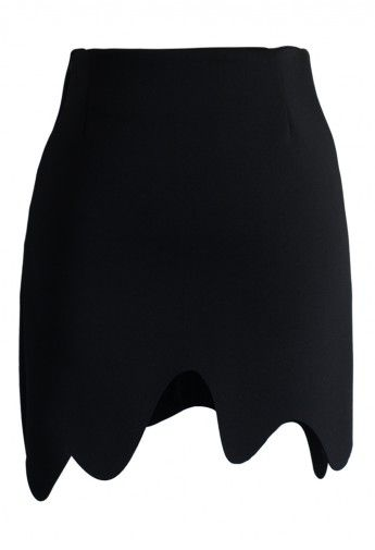 Scrolled Airy Black Bud Skirt